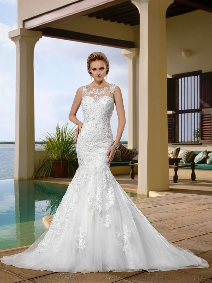 Appliques Sequins Mermaid Wedding Dress