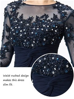 High Quality Bateau Neck Appliques Long Sleeve Mermaid Mother of the Bride Dress