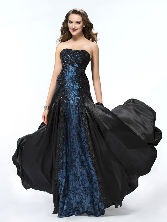 Mysterious A-Line Lace Sweetheart Beading Long Evening Dress Designed