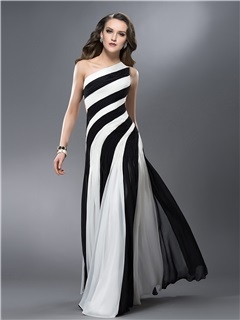 New Style Sheath One-Shoulder Ruched Hollow Out Long Evening Dress Designed