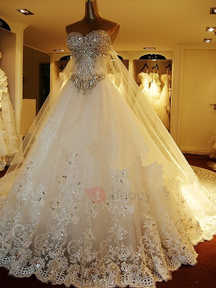Luxury Rhinestone Beaded Sweetheart Watteau Train A-Line Wedding ...