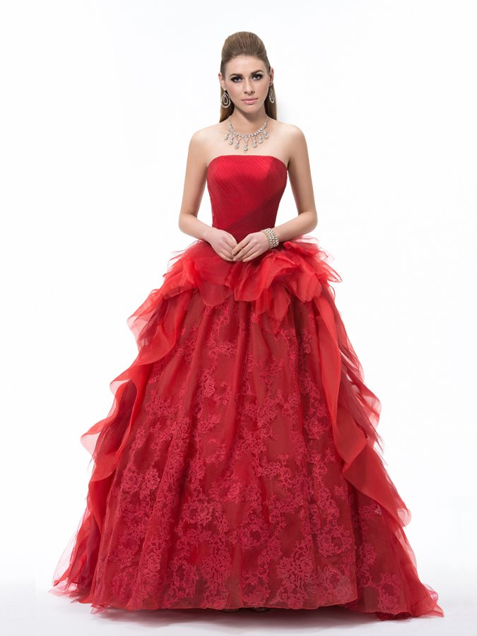 Strapless Appliques Ruched Ball Gown Dress