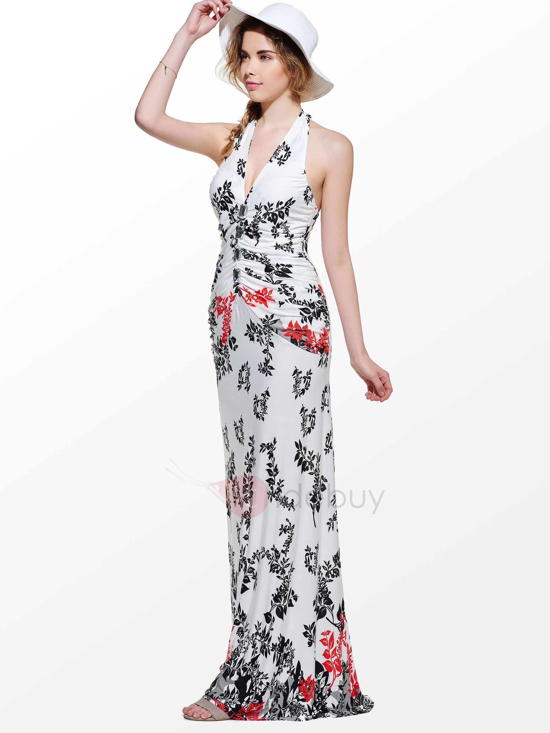 Beautiful V-Neck Sleeveless Leaf Print Halter Maxi Dress