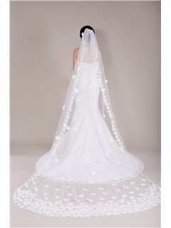 Great Cathedral Tulle Wedding Veil Embellished with Delicate Beaded Hand-made Organza Flowers