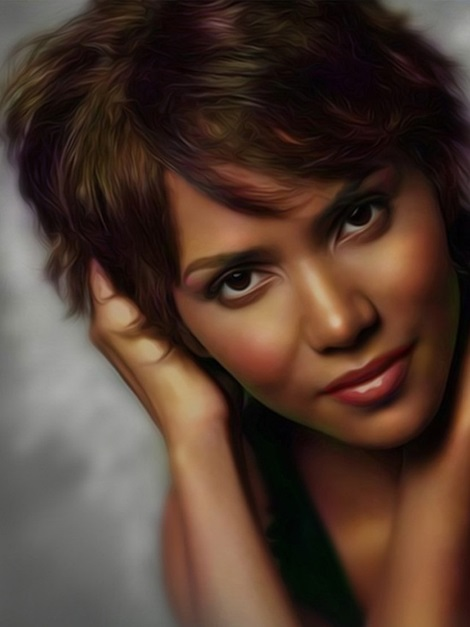 Lovely Halle Berry Short Straight Front Side Bang Hairstyle Human
