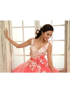 Dramatic A-Line Straps V-Neck Lace Flowers Lace-up Quinceanera Dress