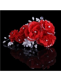 Beautiful Flowers Crystal&Pearls Bride Bridesmaid Hair Flower