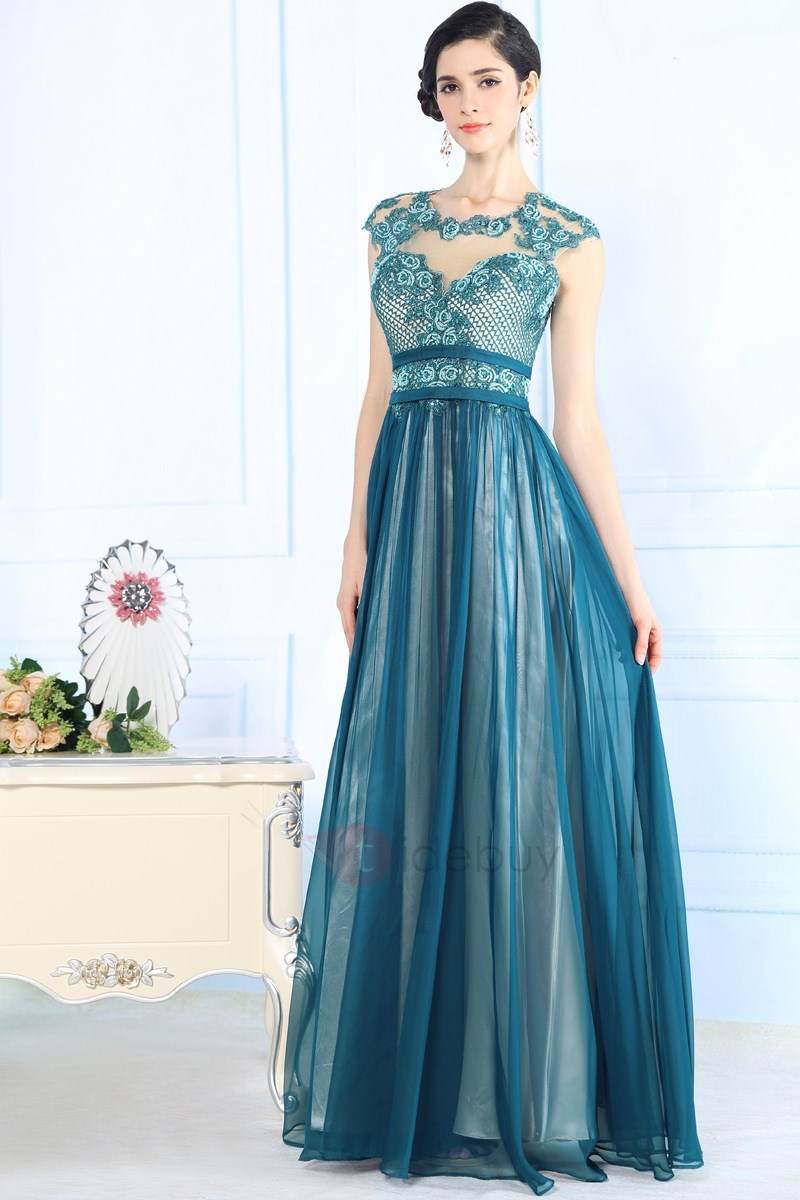 Courtlike A-Line Scoop Neck Appliques Floor-Length Evening Dress
