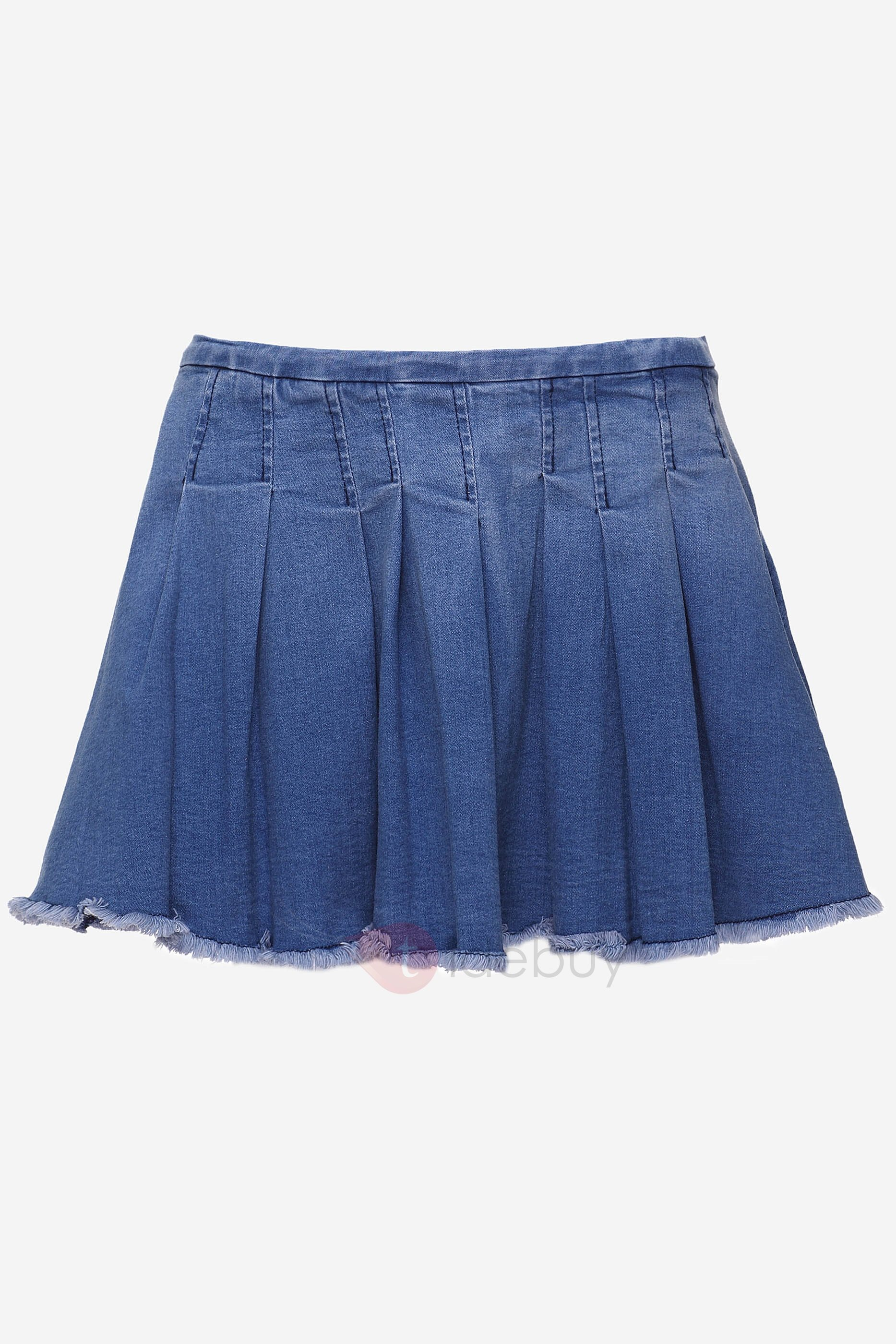 Blue Lace  Pleated Jeans Skirt
