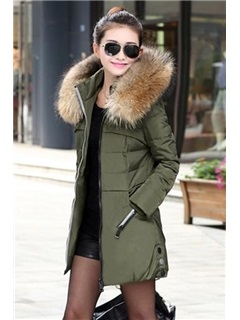 Faux Fur Hooded Long Sleeve Thick Overcoat
