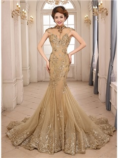Vintage High Neck Mermaid Appliques Backless Lace-up Evening Dress