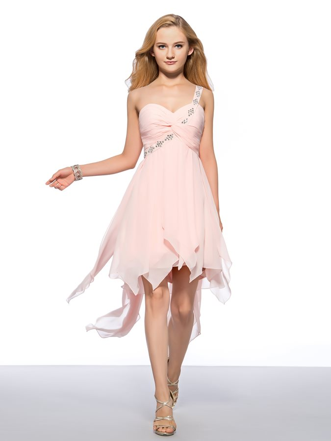 Beaded One-Shoulder Ruched Homecoming Dress