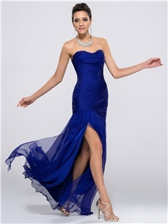 Delicate Ruched Strapless Split-Front Sheath Zipper-up Long Evening Dress