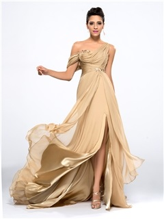 Hot Selling One Shoulder Appliques Split-Front Long Evening Dress Designed