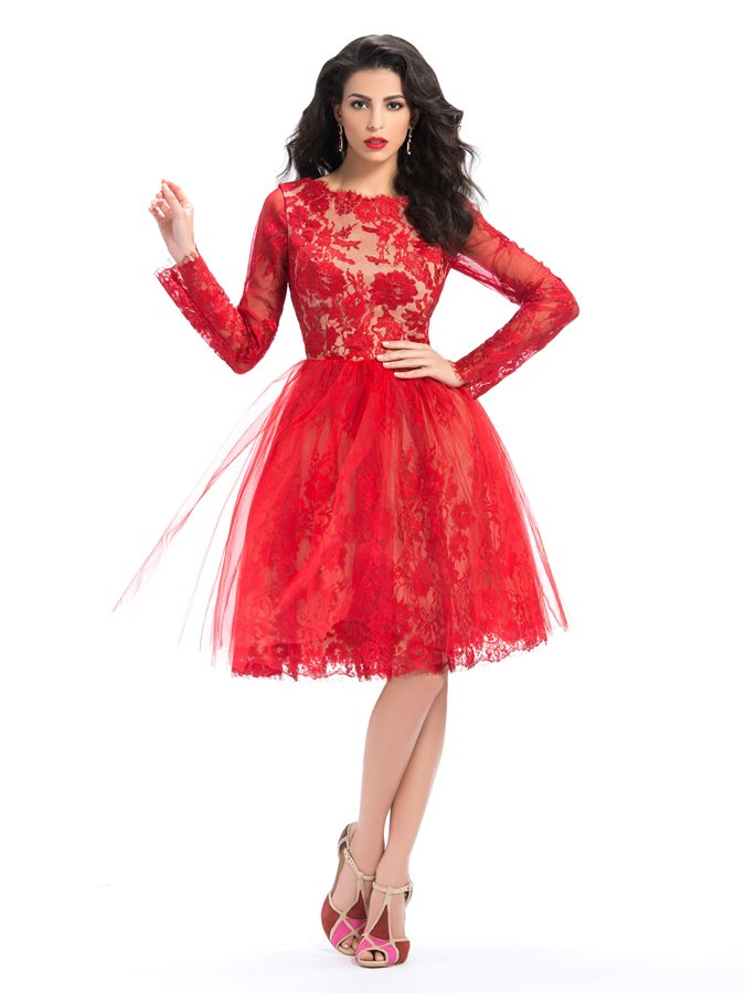 Bateau Lace Knee-Length Red Cocktail Dress