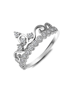 Crown with Crystal 925 Sterling Silver Women's Ring