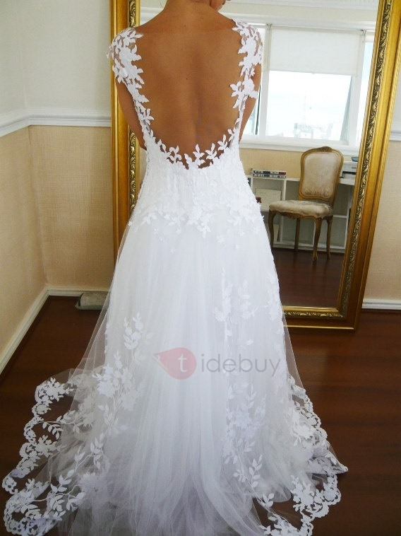 Image of Cap Sleeves Lace Appliques Backless Wedding Dress