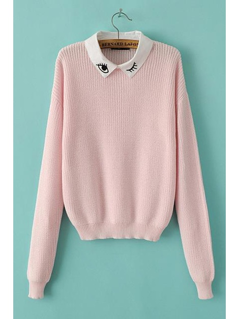 Chic Pink Lapel Long Sleeve Knit Sweater
