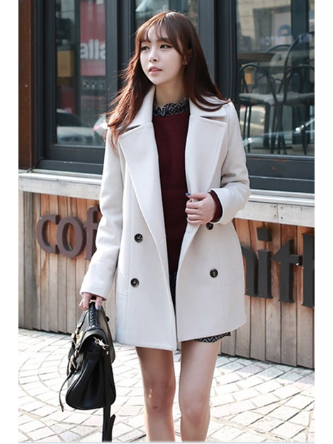 White Wide Lapel Trench Coat