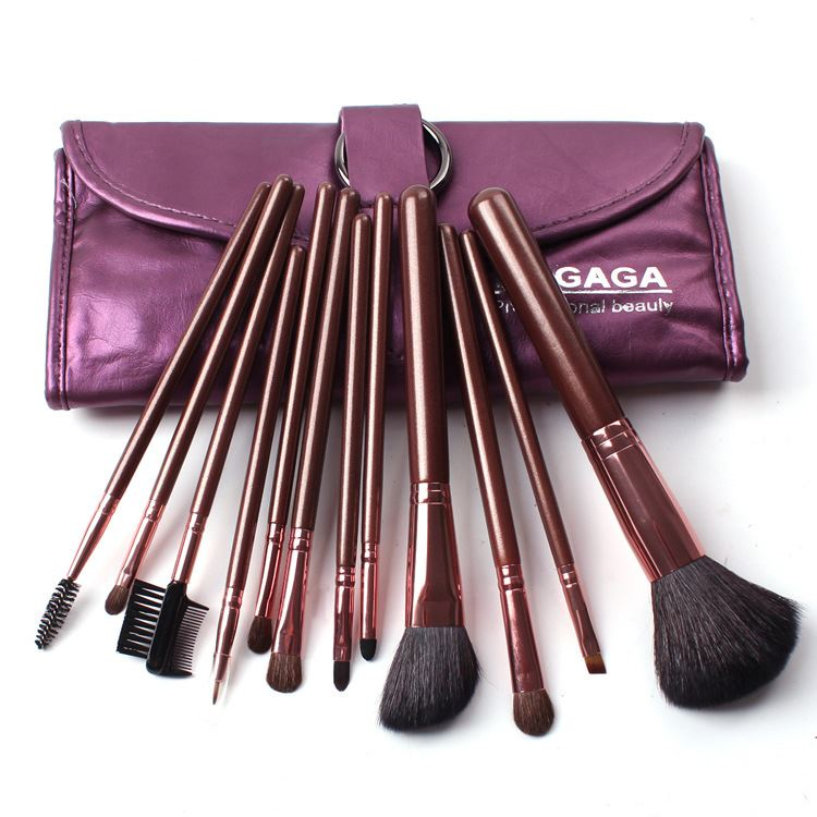 Image of 12Pcs Professional Goat Hair Cosmetic Brush Set
