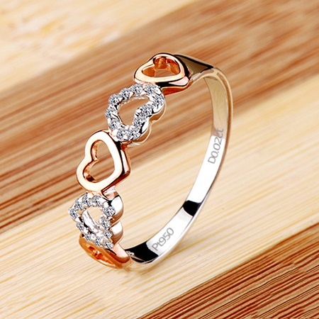 NSCD Heart Shaped 950 Pt Silver High Quality Wedding Ring