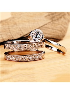 Delicate NSCD Eight Hearts & Eight Arrows Diamond Pt950 Engagement/Wedding Ring Set