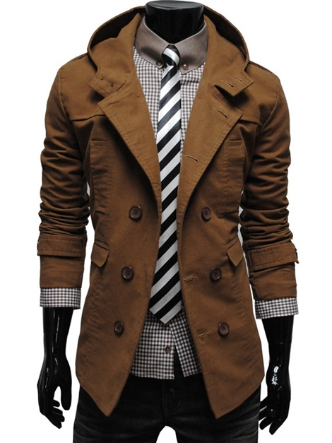 Lapel Double-Breasted Medium Length Hooded Slim Men's Trench Coat