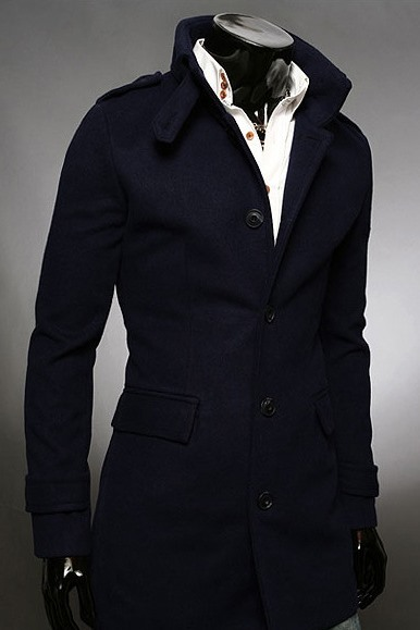 Stand Collar Single-Breasted Overcoat