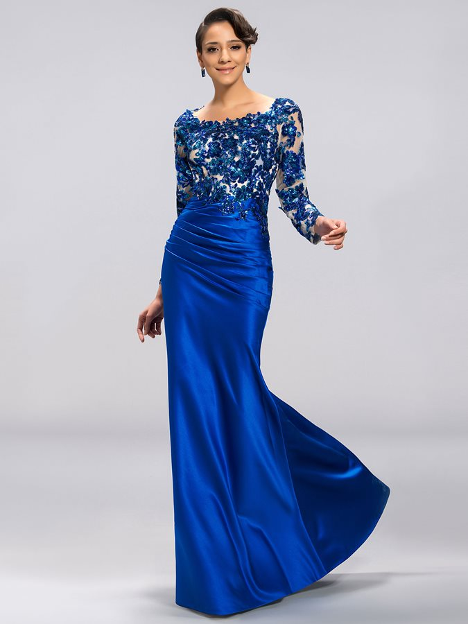 Scoop Appliques Long Evening Dress
