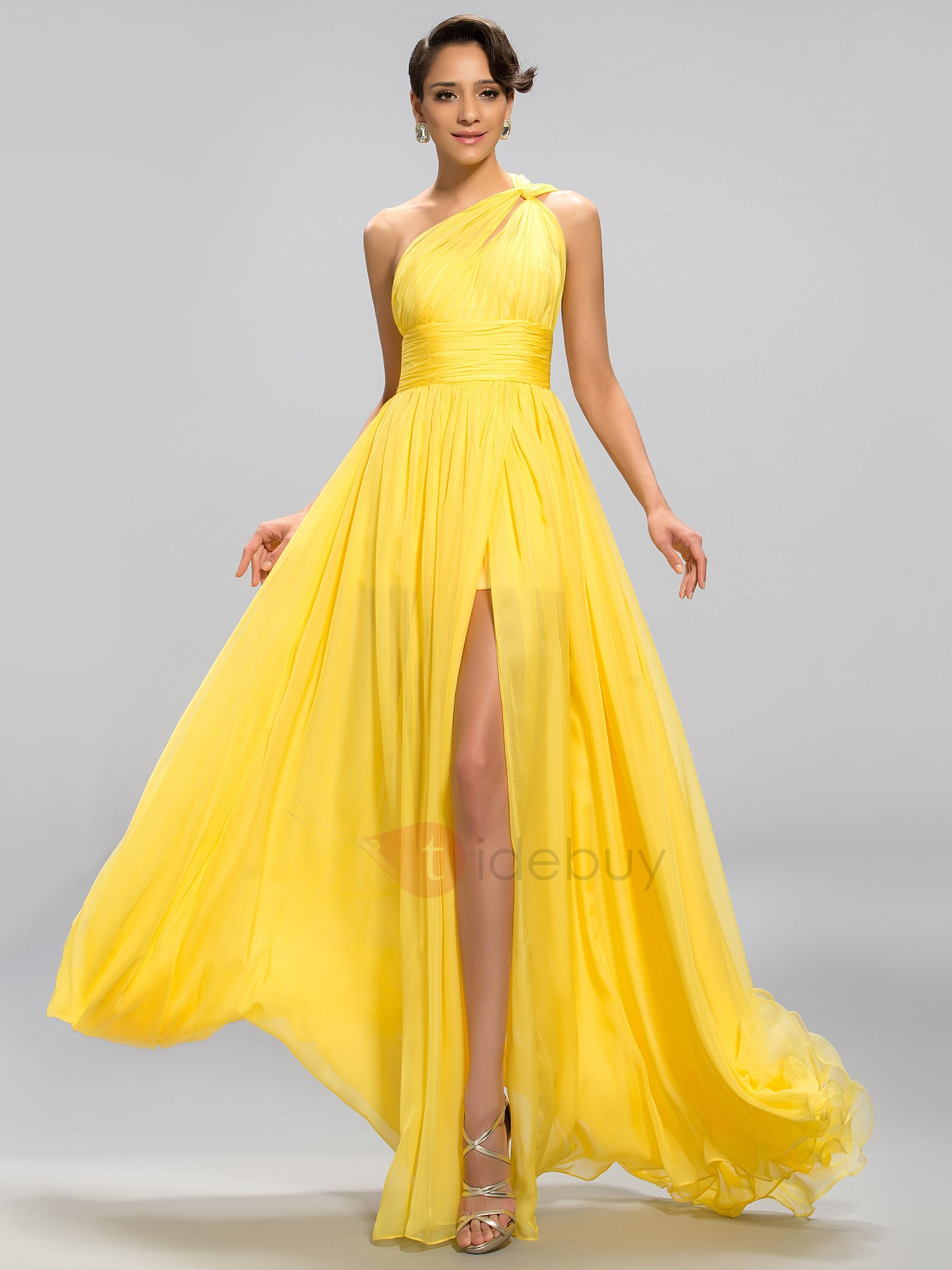 Image of Popular A-Line One-Shoulder Ruffles Split-Front Long Evening Dress Designed
