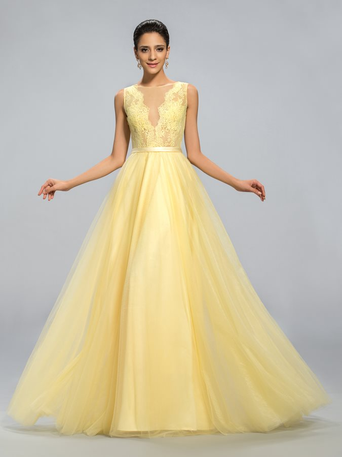 Scoop Sashes Lace A-Line Long Evening Dress 2019