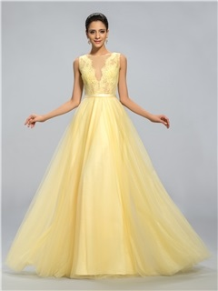 Dazzling Tulle Neck Lace A-Line Long Evening Dress Designed