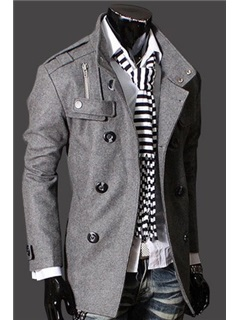 Double-Breasted Plain Long Sleeve Men's Coat