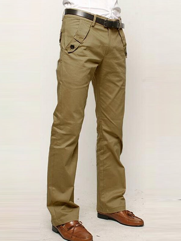 tidebuy / Mens Mid-Waist Cotton Casual Pants
