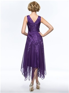 Unique Beaded Embroidered V-Neck Tea Length Purple Mother of the Bride Dress With Jacket/Shawl