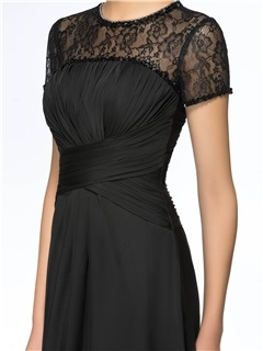 Lace Jewel Neck Short Sleeves Black Long Mother of the Bride Dress