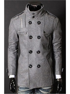 Stand Collar Double-Breasted Long Sleeve Overcoat
