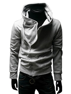 Cotton Blends Stand Collar Zip-Front Pullover Hoodie 18