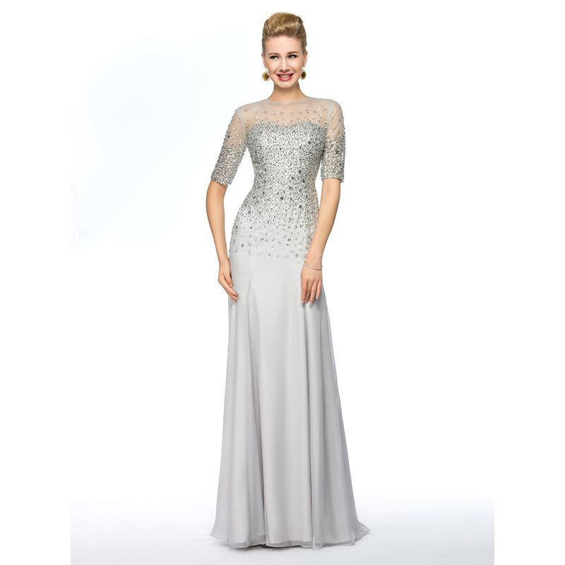 Beading Sheath Mother of the Bride Dress with Half Sleeve