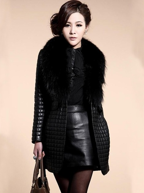 Black Long Sleeve PU Patchwork Faux Fur Women's Overcoat