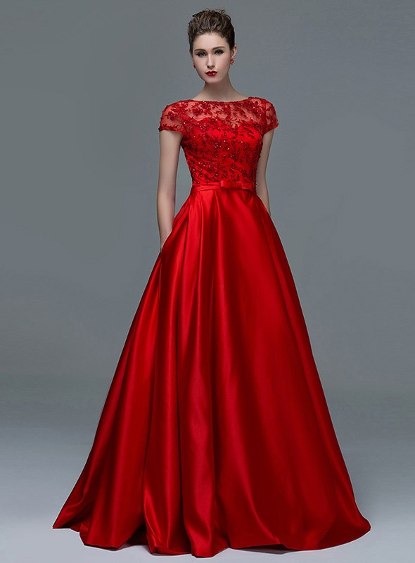 A-Line Short Sleeves Appliques Sequins Sashes Evening Dress
