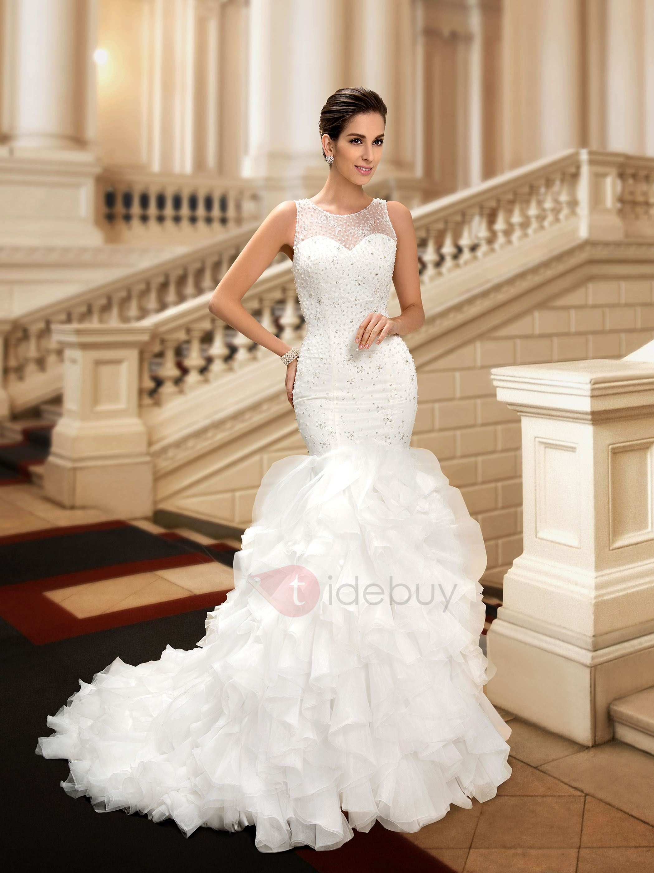 Beaded Jewel Neck Button Zip-up Mermaid Wedding Dress : Tidebuy.com