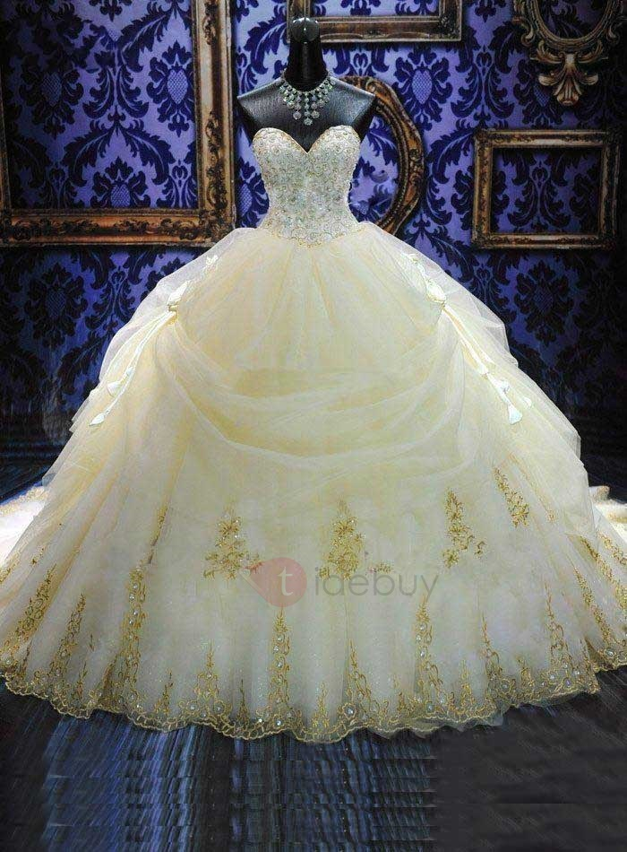 Deluxe Appliques Beaded Ball Gown Wedding Dress