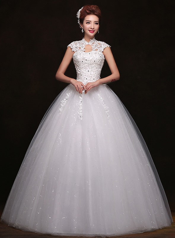Lace High Neck Beading Ball Gown Wedding Dress