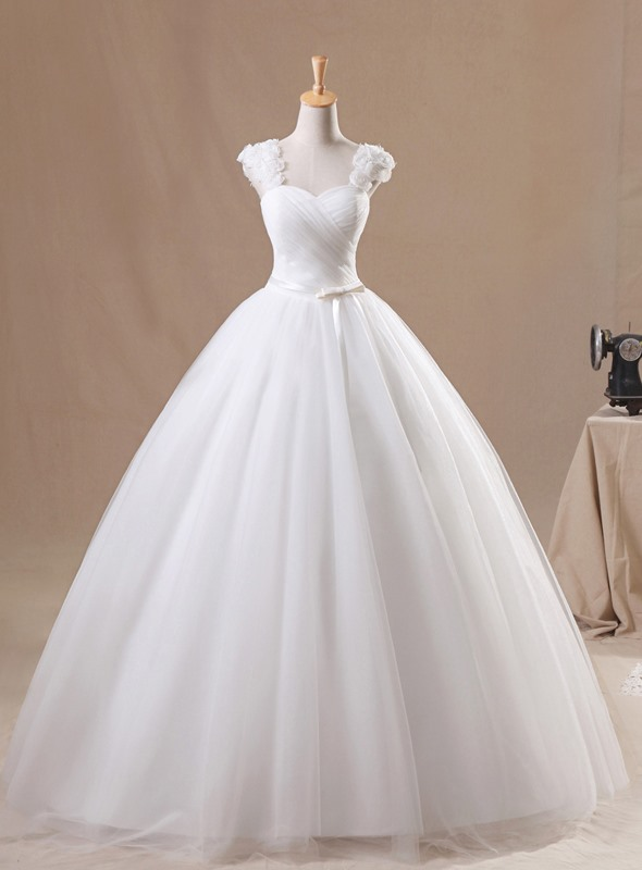 Flowers Straps Bowknot Pleats Ball Gown Wedding Dress