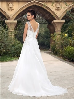Dazzling Beaded Lace Bateau Neck Ruched A-Line Wedding Dress