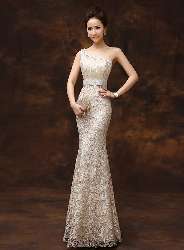 One-Shoulder Sheath Beading Lace Long Evening Dress