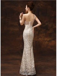 One-Shoulder Sheath Beading Lace Zipper-up Long Evening Dress