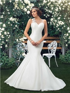 Dazzling Sweetheart Bowknot Floral Ivory Mermaid Wedding Dress