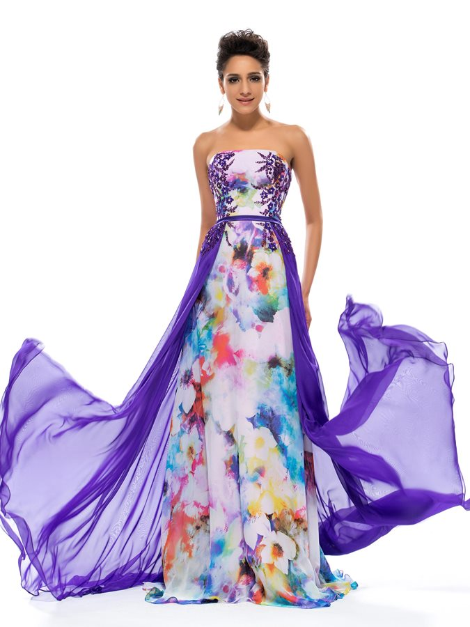 Strapless Beading Printed Prom Dress with Train